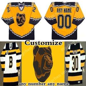 Coutume 1995-1996 Bruins de Boston Vintage CCM pas cher chandail de hockey troisième maillot jaune Pooh Bear Mens Retro Rick Tocchet Maillots