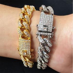 Hommes Hip Hop Bracelets bijoux en or Glacé chaîne Bracelets Rose Or Argent Miami Cuban Chain Link Bracelet