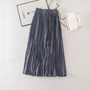 Cthink Bonne qualité style coréen plissés Pantalon large jambe pour femmes Mode Pantalons solide rose Jupe bleu Style Baggy Femmes