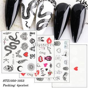 Nouveau de Black Snake Nail Art Sticker lèvres sexy transfert d'eau Curseur Autocollants Lettre décoration florale Conseil Nail Art Décorations bricolage