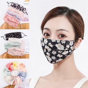 Ladies Ice Silk Sunscreen Máscara Floral face Mouth máscara máscaras Fina Ciclismo Primavera-Verão Respirável máscara da face da mulher lavável DHB500