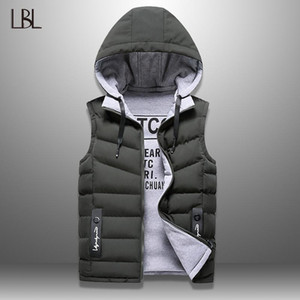 Mens Winter Down Casual Waistcoat Sleeveless Jackets Men Hooded Vest Worn On Both Sides Hat Detachable New Top 4XL