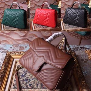 2020 Classic Marmont ondulati grande medaglia borsa a tracolla postino borsa messenger in pelle nera piena bkHI #