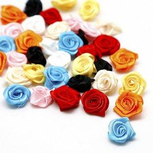 Высокое качество 100pcs / Multi цветы 2см ручной работы DIY атласной лентой розы Свадебные украшения аппликациями Craft Аксессуары PT5G #