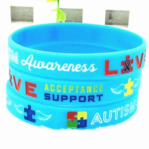 1pcs Autism Awareness Bracelets Silicone Wristbands Autism awareness live acceptance support for angel