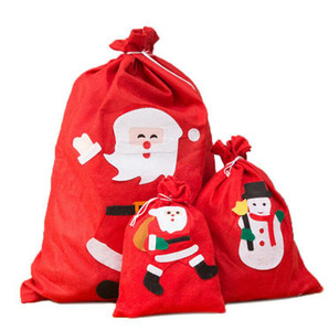 Christmas Santa Sack Non-woven gift bags Candy Cookies Gift Bag Drawstring Storage Pack With snowman Tree Christmas Decorations GGA3754
