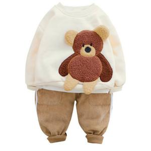 Moda bebê roupas conjuntos de inverno criança infantil recém-nascido roupas bebê meninas meninos conjuntos de roupas dos desenhos animados crianças crianças crianças pelúcia tops calças