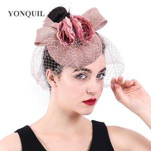 Şeftali Şapkalar Yay ve Çiçek Şapka Fascinator Düğün Bayanlar Günler Yarış Ascot Veils Şapka Gelin Evli Headdress Fedora Chapeau Kapaklar NSYF379