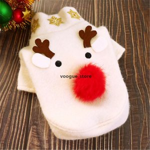 Christmas Pet Dog Clothes Pomeranian Teddy White Wool Autumn Winter Coat Big -Nosed Elk Patterned Pet Cat Costume 01