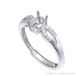 Cgjxs semi anello di supporto Impostazioni Per pietra ovale con laterale Cz 4x6mm solido 925 regali di nozze sterlina delle donne sposa gioielli