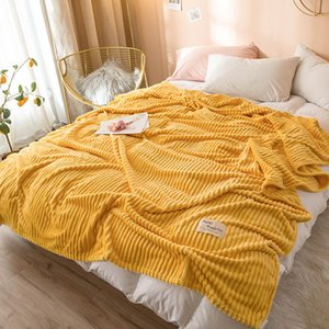 Bonenjoy Blankets for Beds Solid Yellow Color Soft Warm 300GSM Square Flannel Blanket On the Bed Thickness Throw Blanket