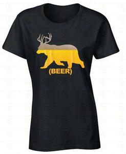 Beer Bear Deer Antlers Suds FRAUEN T-SHIRT Humor Damen Trinken Party-Hemd