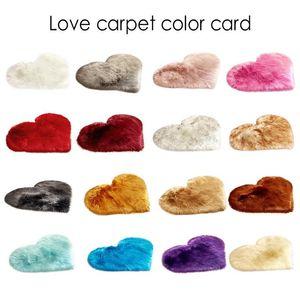 Shaggy Carpet Wool Faux Fluffy Mats Artificial Sheepskin Hairy Mat Love Heart Rugs NO Lint Carpet for Living Room 30x30 40x50cm