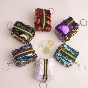 Mermaid Pailletten Geldbörse Geldbörsen Double Color Schlüsselanhänger Platz-Kind-Mädchen-Speicher-Beutel-Kopfhörer Schlüsseletui Reißverschluss-Tasche Weihnachtsgeschenke E9902