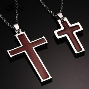 Aço inoxidável EyeYoYo madeira embutido Grain Christian Cruz Colar religiosa Jóias Oração para homens e mulheres