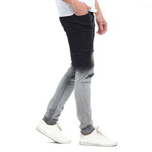 Şık Tasarımcı Siyah Beyaz Renk Patchwork Kalem Pantolon Kot Gradatient Renk Jeans Mens Yıkanmış