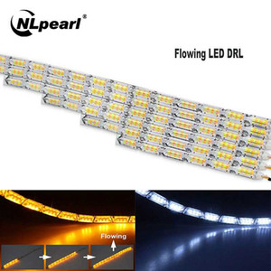 NLpearl 1pair Измельчитель DRL LED дневного света Последовательная Гибкая светодиодная лента DRL сигнала поворота лампы для вождения автомобиля света 12V