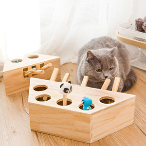 Cat Hunt Toy Chase Mouse Solid Wood Interactive Maze Pet Hit Hamster With 3 5-holed Kitten Playing Gopher Catch Bite Puzzle Toy