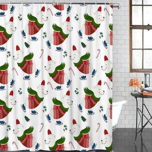 욕실 방수 커튼 크리스마스 북극곰 스케이트 패브릭 샤워 커튼 홈 욕실 장식 크리스마스 샤워