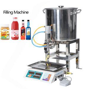 Yarı Otomatik Makineler Pnömatik Can Bal Dolum Makinesi Tartım Yağ İçecek Küçük Şişe Pişirme Dolum Yapıştır 50g-2500g