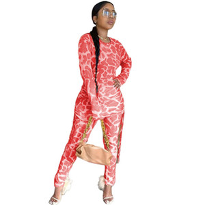 Leopard Printed Designer Womens Tracksuits Casual Crew Neck Two Piece Sets Bandage Drawstring Swxy Slim Clothing