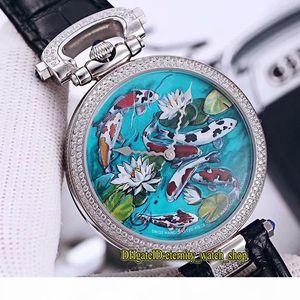 Luxury New Bovet 1822 Амадео Флёри 3D Koi Fish Лотос Dial Швейцарский кварцевый Mens Womens Watch Алмазный диск черный кожаный ремешок Часы унисекс
