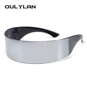 Солнцезащитные очки Oulylan Classic Wrap Мужчины Женщины Женщины Прикосновение Интегральные Серебряные оттенки Плоская Топ Новинка Костюм Костюм Смешные Странные Очки