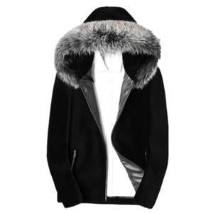 Real Sheep Shearling-Pelz-Mantel Winterjacke Herren Echtpelzkragen Warm Outwear Mens 100% Wollmäntel Chaqueta LSY088035 MY1607