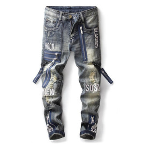 New Fashion Design High Quality Jeans Hip Hop Ripped Skinny Denim Biker Jeans Men
