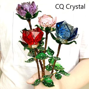 Crystal Glass Rose Flower Figurines Craft Wedding Valentine's Day favors Gifts Table Decoration Ornaments Gifts Boxed (4 colors)