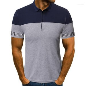Business Tops Panelled Striped Print Lapel Neck Mens Polos Summer Short Sleeve Slim Mens Tees Casual Mens