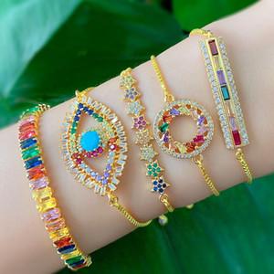 zlxgirl Мода красочные Кубический циркон меди регулируемый браслет женские морские аксессуары Amazon четыре дизайн выбрали