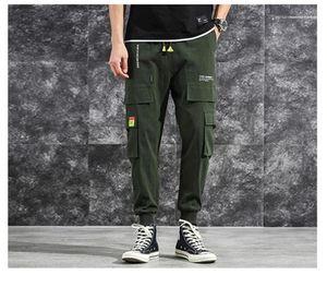 Pantalon sólido de la manera con la Grande bolsillo cargo pantalones informales con cordón elástico Pantalones Abajo Diseñador HipPop Homme