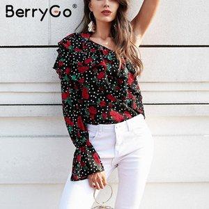 BerryGo Um ombro Mulheres manga comprida blusa ruffle camisa floral chiffon impressão blusa sexy incendiar senhoras manga tops de verão 2020