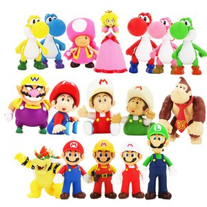 Super Mario Bowser Yoshi Mario Luigi Donkey Kong Wario Toad Toadette PVC-Abbildung Spielzeug-Modell Puppen Action-Figuren Spielzeug 12cm Freies Verschiffen