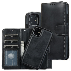 For iPhone11 XS max 2in1 magnetic case Luxury Detachable Removable bookcover for Samsung S20 Plus S10 Plus Free shipping