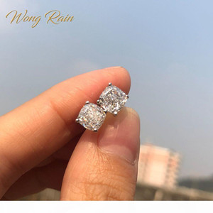 Wong Rain Classic 100% 925 Silver Created Moissanite Gemstone Wedding Engagement Ear Studs Earrings Fine Jewelry Wholesale CX200628