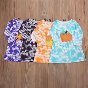 2020 Children Girls Long Sleeve Dresses Halloween Pumkin Striped Tie Dye T Shirt One Piece Dress Kids Halloween Party Dress Clothing D91606