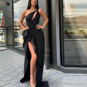 WEPBEL sexy robes haute de Split Femmes Noir taille haute Robe une épaule pailletée sans manches Parti robe noire