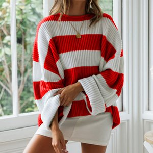 Hot Sale Women's Winter Sweater Stripes Pullover Long Sleeve O-Neck Curling Loose Ladies Sweaters Autumn New Womens Jumpers