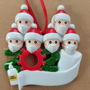 2020 Quarantine Christmas Decoration Resin Christmas Tree Ornament Pandemic Social Party Distancing with Mask 1-7 People gift