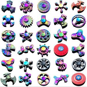 Arco-íris do metal Fidget Spinner caranguejo colorido Spinner dedo EDC Toy flor da estrela do pirata Capitão América Descompressão Ansiedade Brinquedo do metal
