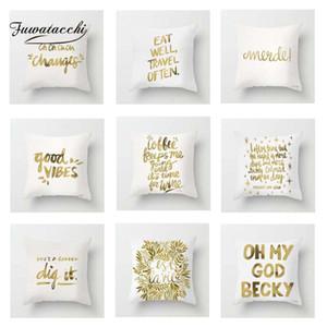 Fuwatacchi Золотого Белого Письмо Подушки Обложка Поцелуй Мягкой подушка обложка Декоративного Диван наволочка наволочка