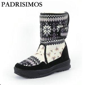 PADRISIMOS de mujeres Botas de invierno cálido zapatos snowboot antideslizante suela de goma del copo de nieve de mirada agradable de Big Plus Negro JSH-B001