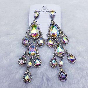 Pendientes de lujo pedrería de cristal gota del agua para la fiesta nupcial de baile de las mujeres cuelga los pendientes de la manera larga de accesorios