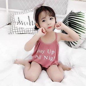 Girl pajamas suit sleeveless camisole cotton clothes ruffled panties shorts cute alphabet girl home service summer two-piece