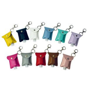 11 Designs Plain Color PU Leather Travel Bottle Holder Hand Sanitizer Holder With Empty Refillable Reusable Bottles Wrist Key Chains AC11431