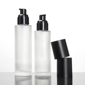 Frosted Clear Glass Lotion Bottle,Spray Pump Bottle with Matte Black Cap 20ml