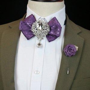 İngiliz Moda Erkek Papyon Broş Cep Havlu Set Yeni Rhinestone Bow Tie Erkek Unisex Düğün Damat Resmi Giyim Kore