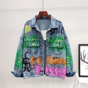 Letter Graffiti Jean Jacket Women Outwear Oversized Loose Print Female Basic Coat Turn-Down Collar Casaco Chaquetas Denim Jacket